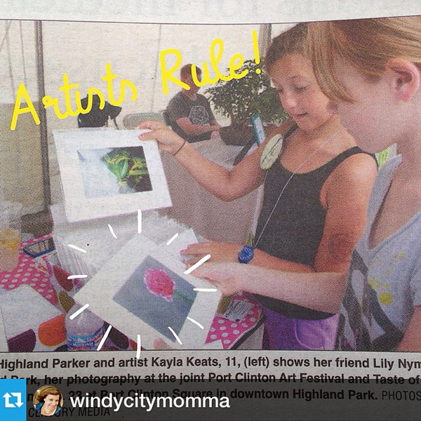 #Repost from @windycitymomma -- Just love it when young artists are featured in the local newspaper! Even better? It's Kayla & Lily!
