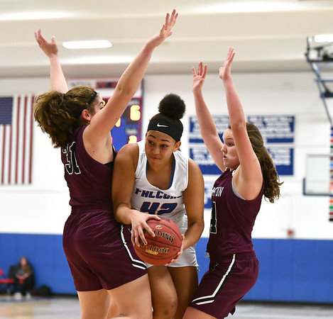 1/10/2020 Mike Orazzi | StaffrSt. Paul's Jade Udoh (42) against Torrington at St. Paul in Bristol Friday night.