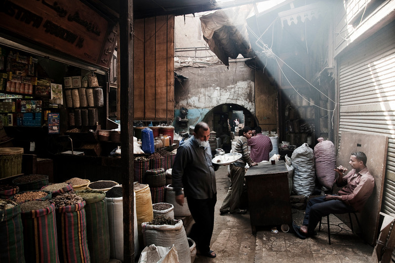 The market of Khan al K-halili can at first seems like a tourist trap. However, it's worth remembering that Cairenes have plied their trades here since the khan was built in the 14th century. Taking any of the small alley ways off the main thoroughfare will reveal many hidden secrets.   Cairo, Egypt, 2010.