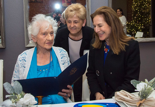 01/10/20 Wesley Bunnell | StaffrrAnne Durant , who turned 100 on January 2nd, celebrated her 100th birthday with a party at Belvedere Restaurant on Friday evening with special guests State Senator Gennaro Bizzarro and Lt. Gov. Susan Bysiewicz. Durant is presented with a proclamation celebrating her birthday by Bysiewicz as Director of Compliance for From the Heart Homecare's owner Eva Puzio looks on.
