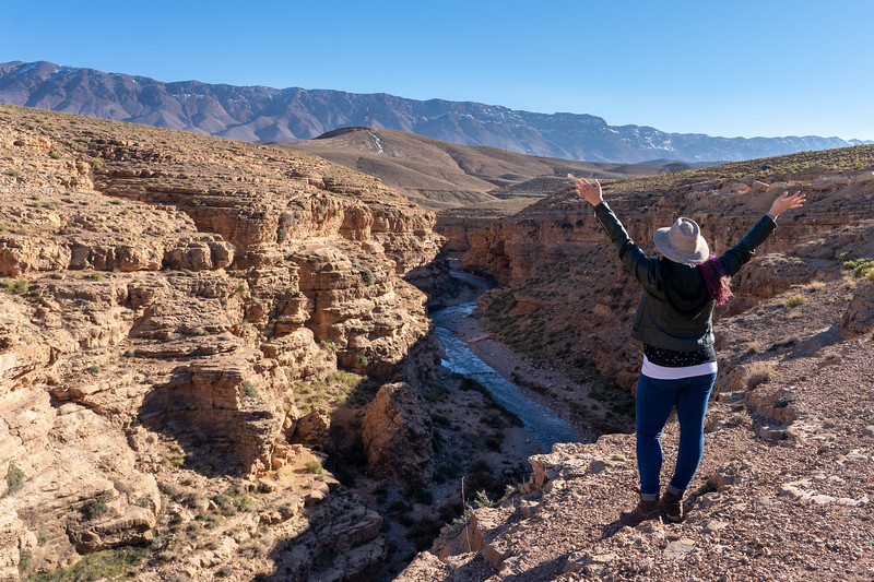 Amanda at a canyon near Midelt, Morocco