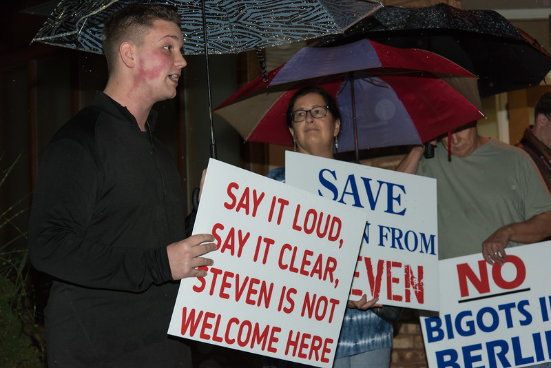 10/11/18  Wesley Bunnell | Staff  17 protestors stood outside of the Berlin Board of Education Department on Thursday evening to protest comments made by Republican candidate for the 30th district Steven Baleshiski. Fred Morley, L, gave a short speech to the crowd as Rose Weed looks on.
