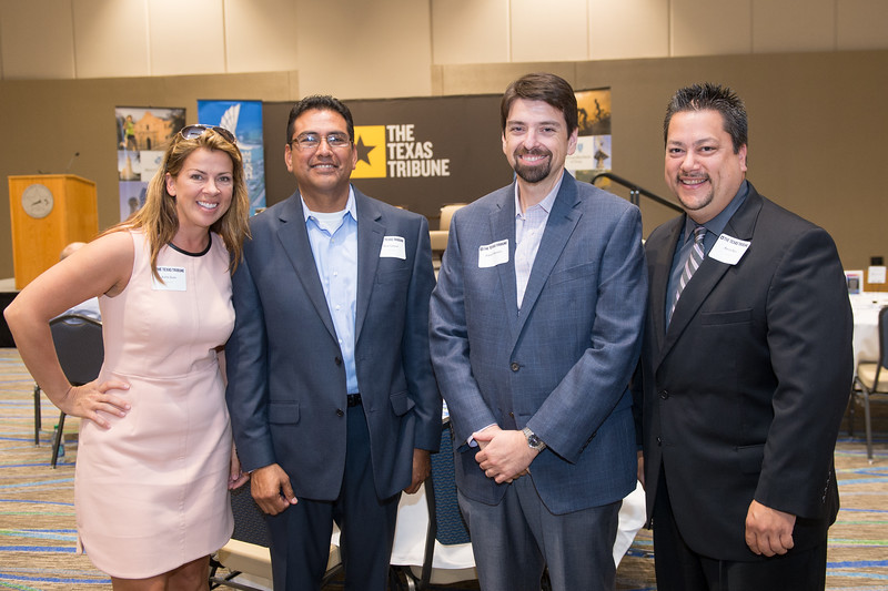 Kellie Dahr(left) Nick Salazar, Daniel Morales and Aaron Rios at the Texas Tribune event. Monday September 28, 2015 at TAMU-CC.