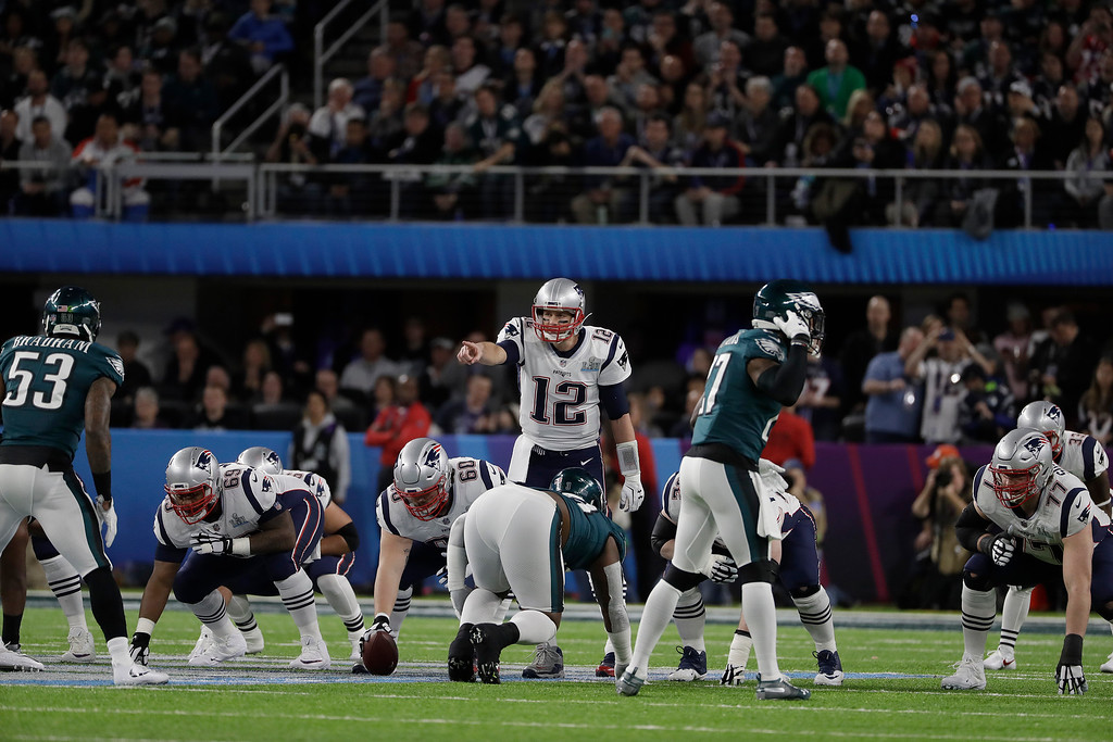 . New England Patriots\' Tom Brady (12) signals during the first half of the NFL Super Bowl 52 football game against the Philadelphia Eagles Sunday, Feb. 4, 2018, in Minneapolis. (AP Photo/Matt Slocum)