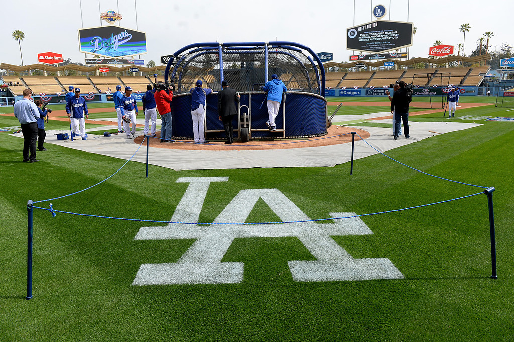 . The LA logo is roped off during batting practice at opening day, Friday, April 4, 2014, at Dodger Stadium. (Photo by Michael Owen Baker/L.A. Daily News)