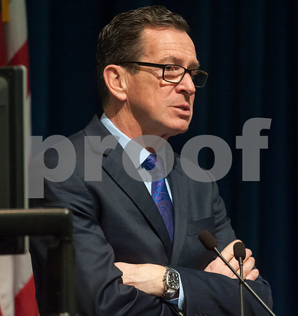 02/15/18 Wesley Bunnell | Staff Connecticut Governor Dannel Malloy speaks at the Connecticut Fuel Cell Forum hosted by Eversource, at Eversource Headquarters, 107 Sheldon Street, Berlin. Malloy spoke in favor of the energy source that is a device that produces electricity through a chemical reaction between a source fuel and an oxidant. The source fuel could be almost anything that can be oxidized, including natural gas, hydrogen, methane, propane, methanol, diesel fuel or gasoline. The only byproducts are water and a small amount of nitrous oxide if air is used as the oxidizer, according to Mitch Gross, Eversource spokesperson. The conference featured discussion from fuel cell companies, discussion on fuel cell analysis and procurement processes, and fuel cell case studies from municipalities and businesses.