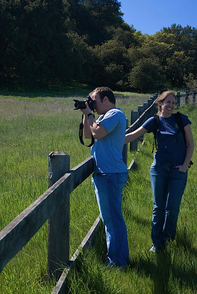 Zack taking shots of the Hay Creatures while Katy imitates Hammy