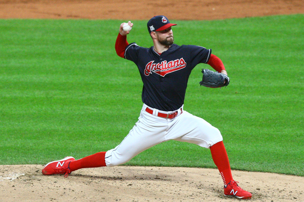 . David Turben - The News-Herald 2017 - Baseball - ALDS Game 5 Quick Pics.  Indians starting pitcher Corey Cluber (28) makes a pitch.