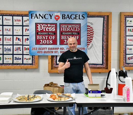 4/6/2019 Mike Orazzi | Staff Fancy Bagels' Sal Belcaro during the 5th Annual Connecticut Prime Time Senior Fair Saturday at Bristol Eastern High School.