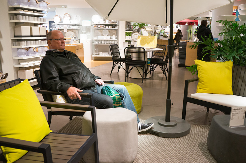 Relaxing in Crate and Barrel