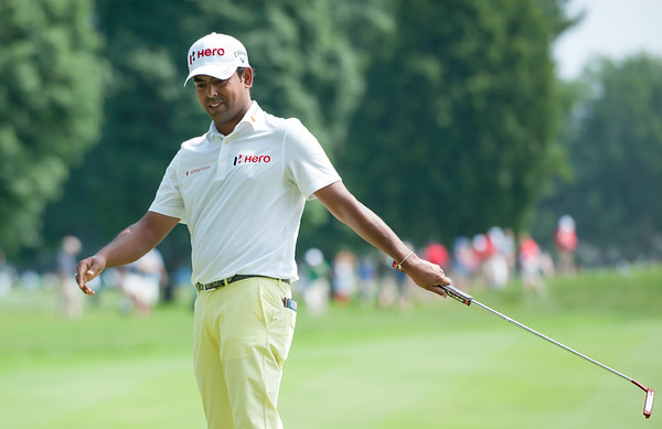 06/24/18 Wesley Bunnell | Staff The final day of The Travelers Championship at TPC River Highlands in Cromwell on Sunday June 24. Anirban Lahiri reacts after missing a putt finished T9 with a -12.