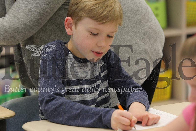 McQuistion Elementary first grader Dylan Bellis works on his mother's day letter. Seb Foltz/Butler Eagle