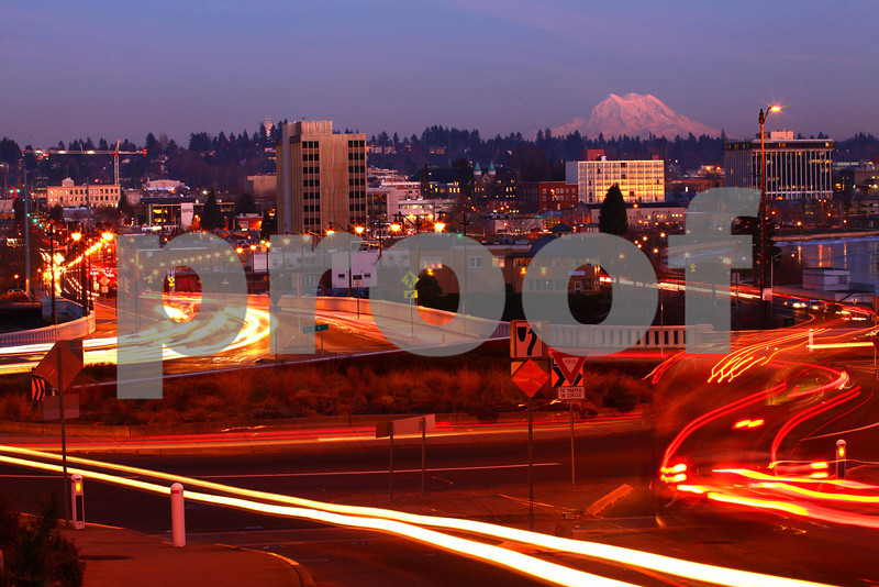 The view across the 4th Avenue roundabout to Mt. Rainier.