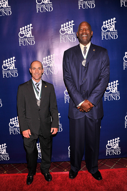 . Jockey Gary Stevens and former NBA player James Worthy attends the 28th Annual Great Sports Legends Dinner to Benefit The Buoniconti Fund To Cure Paralysis at The Waldorf Astoria on September 30, 2013 in New York City.  (Photo by Stephen Lovekin/Getty Images for The Buoniconti Fund To Cure Paralysis)