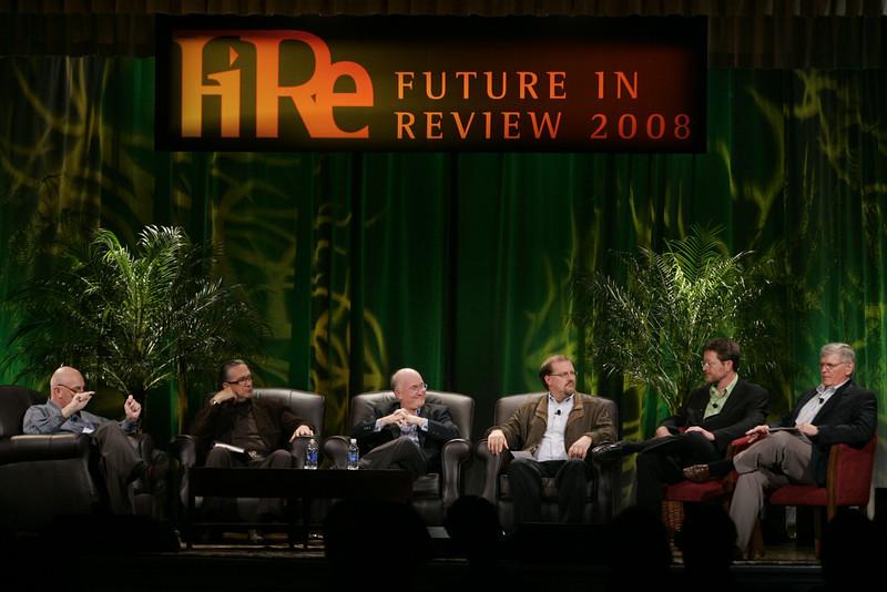 """Hotspots II"": (L-R) Moderator Steve Evans, BBC; Ricardo Salinas, Grupo Salinas; Don Jones, QUALCOMM; Simon Hackett, Internode; Mark Foster, Zimmer Gunsul Frasca; and David Morris, EcoVerdance"