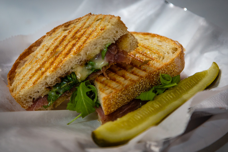 A pressed Monte Carlo sandwich with pickle, served at Patria Cafe, located at 319 Clematis St., Suite 101, West Palm Beach, FL on Thursday, February 20, 2020. [JOSEPH FORZANO/palmbeachpost.com]
