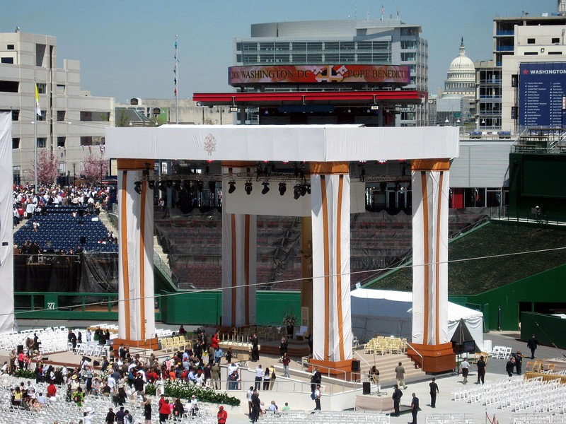 The Altar, in centerfield, designed by Catholic University students.  The U. S. Capitol is visible in the background.