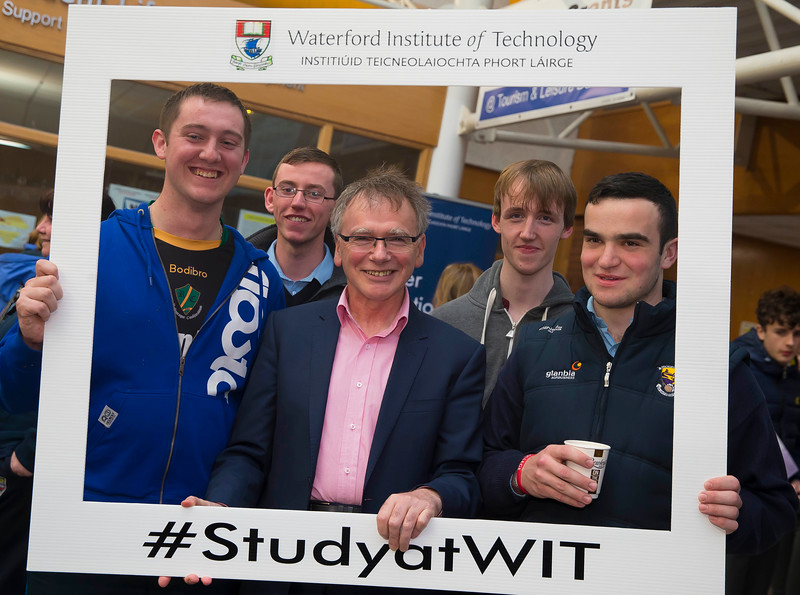 05/04/2016. Waterford Institute of Technology (WIT) CAO Information Evening are Tommy Murphy, New Ross, Eoin Higgins, Rathnure, Gary Murphy, New Ross and John Murphy, St. Mullins with Prof Willie Donnelly, President WIT. Picture: Patrick Browne  Prospective students travelled from far and wide to the Waterford Institute of Technology (WIT) CAO Information Evening on Tuesday 5 April to hear in detail about the brand new WIT President's Scholarship Programme worth up to €12,000 a year for five students. For September 2016, WIT is offering an exciting new scholarship scheme which encourages and rewards young people who show a capacity to shape a better society. WIT has 70 CAO courses. Details are available at www.wit.ie/caoscholarship