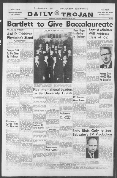 Daily Trojan, Vol. 53, No. 121, May 09, 1962