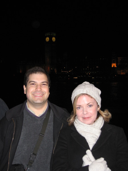 Craig and Sarah, across the River Thames from The Clock Tower