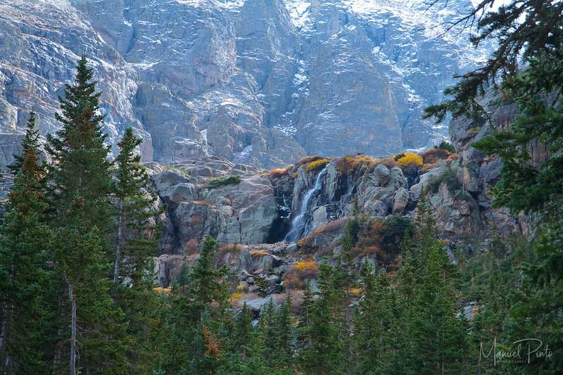 Falls below Glass Lake at Rocky Mountain National Park Colorado