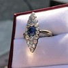2.93ct Antique Diamond and Sapphire Navette Dinner Ring 14