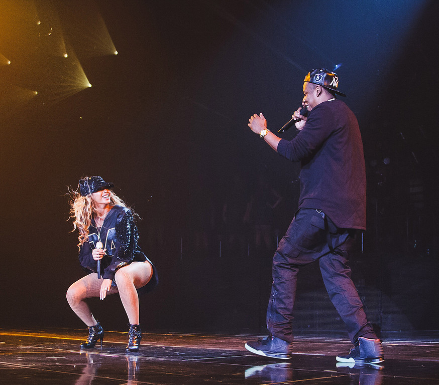 ". Jay Z, left,  joins his wife Beyonce onstage during Beyonce\'s ""Mrs. Carter Show World Tour 2013\"", on Monday, Aug. 5, 2013 at the Barclays Center in the Brooklyn borough of New York. (Photo by Robin Harper/Invision for Parkwood Entertainment/AP Images)"