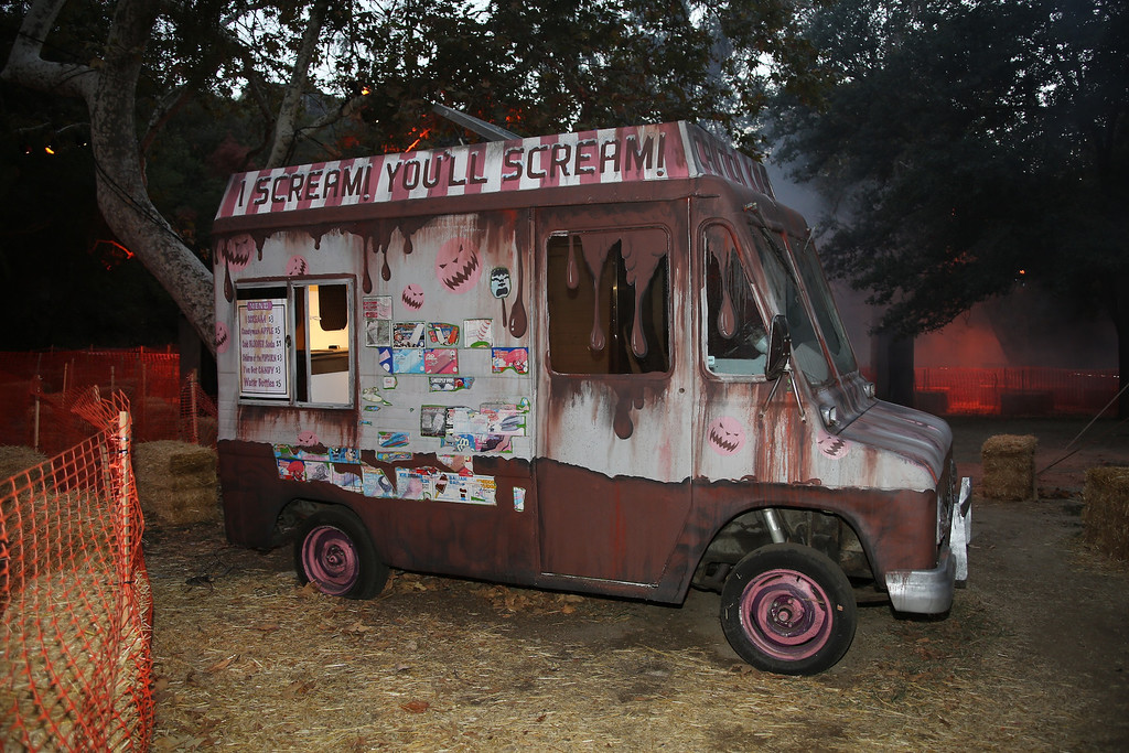 . An ice cream truck at the 5th Annual Los Angeles Haunted Hayride Premiere Night on October 10, 2013.  The fifth year anniversary of the Los Angeles Haunted Hayride took Hayriders through scenes of actual hauntings.  The month-long event will once again take place in Griffith Park�s Old Zoo area, which has been home to murder, torture, paranormal activity, serial killers, and abduction. (Photos by Boris Issaei for the Los Angeles Daily News)