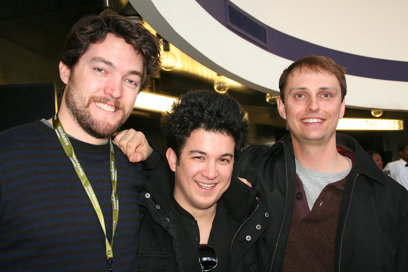 """Director Derek Seig (left) with violinist Nick Kendall (ctr) and music score composer Josh after screening of """"Swedish Auto"""""""
