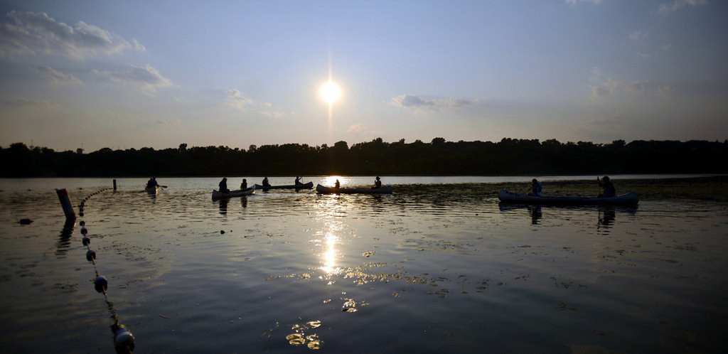 ". Participants in the  ""I Can Paddle\"" program at Fort Snelling State Park try out their newly acquired skills.  (Pioneer Press: Chris Polydoroff)"