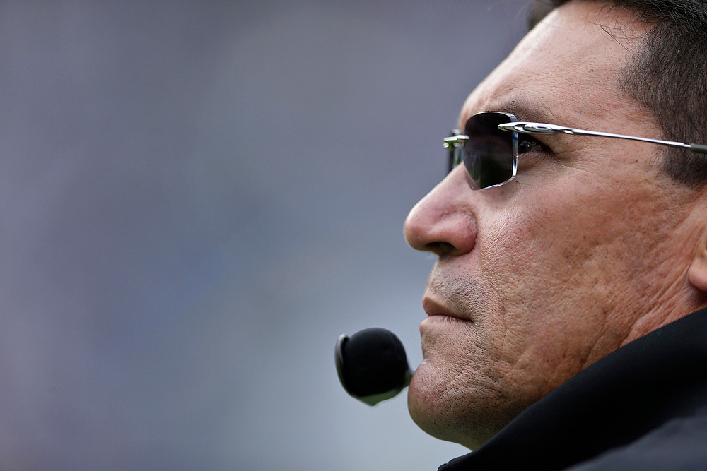 Description of . Carolina Panthers coach Ron Rivera watches as the Panthers play against the San Diego Chargers during the first half of an NFL football game Sunday, Dec. 16, 2012, in San Diego. (AP Photo/Gregory Bull)