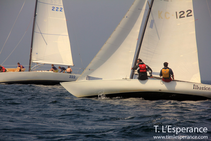 Painkiller and Illusion racing to windward on a Wednesday night sailing race, St. Margaret's Bay, NS.