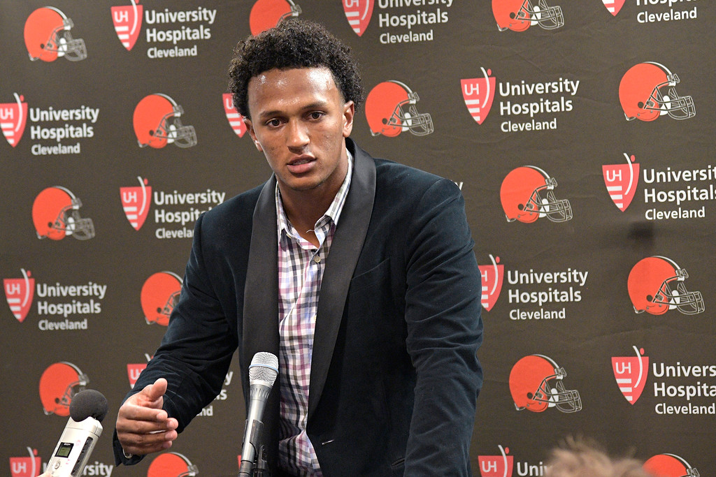 . Cleveland Browns quarterback DeShone Kizer answers a question during the post-game news conference after an NFL preseason football game against the Tampa Bay Buccaneers, Saturday, Aug. 26, 2017, in Tampa, Fla. The Browns won 13-9. (AP Photo/Phelan M. Ebenhack)