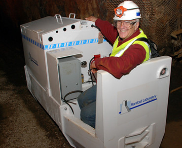 Alonso in the mine at Sanford Lab.