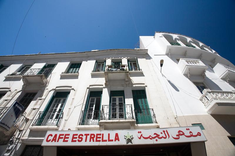 Sign in Spanish and Arabic, Spanish quarter, Tetouan, Morocco
