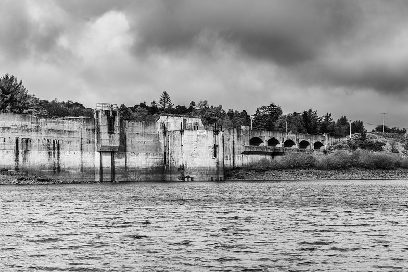 Black & White of Loch Doon and the Hydro Dam Ayrshire Scotland