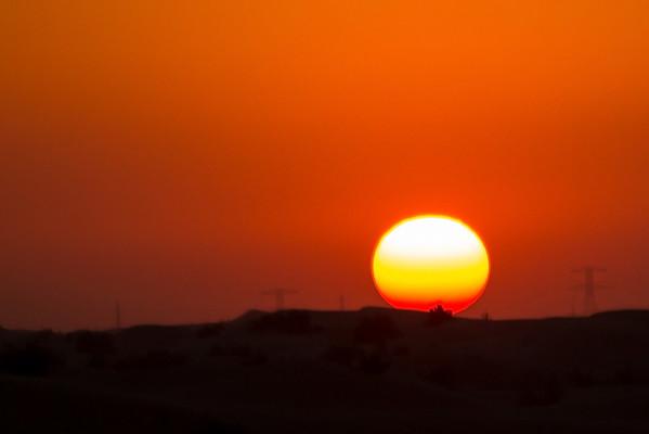 Sunset in desert, Dubai - January, 2016