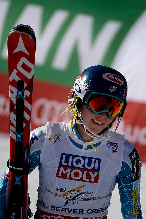 . USA\'s Mikaela Shiffrin after her gold-medal-winning run the ladies\' slalom. FIS Alpine World Ski Championships 2015 on Saturday, February 14, 2015. (Photo by AAron Ontiveroz/The Denver Post)