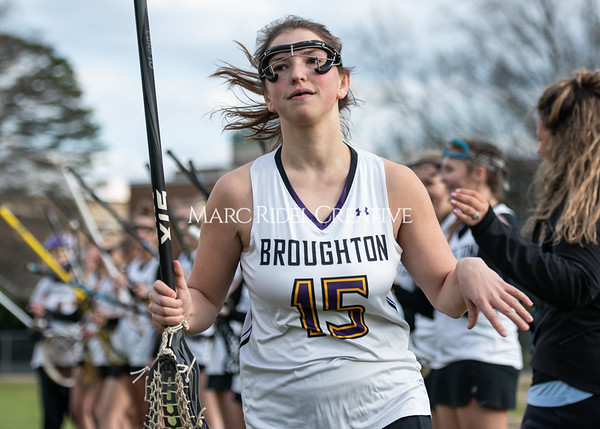 Broughton girls varsity lacrosse vs Middle Creek. February 28, 2020. MRC_5445