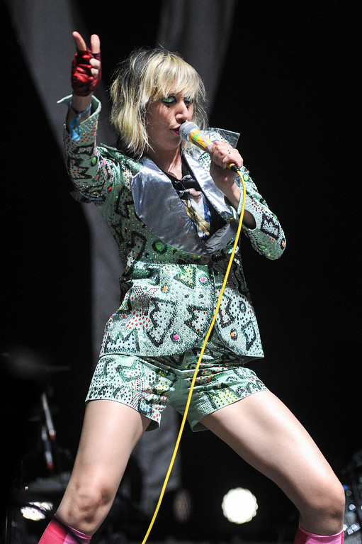 . Yeah Yeah Yeahs\' singer Karen O performs at FYF Fest in downtown L.A., Saturday, August 24, 2013. (Michael Owen Baker/L.A. Daily News)