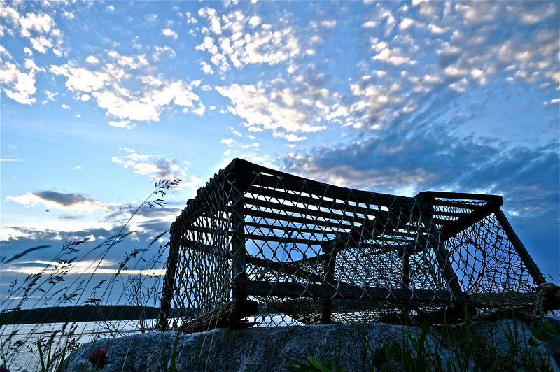 Lobster Trap in Harpswell, Maine at Sunset.