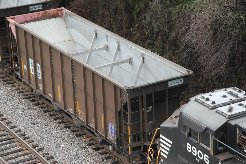69X-31 [Rock; Scherer, GA-Luttrell, TN] NB NS 9703 (C44-9W) NS 8909 (C44-9W)  72 empty 4-bay SLIX aluminum rapid dump hoppers. #2 at NS Rockdale, Atlanta, GA. He will swap on the runaround at NS Bridge. I quickly realized the cars were old GALX 5-bay hoppers that were assigned to Plant Bowen in Stilesboro, GA and were cut down to 4-bays. There wasn't much savings in weight, so my only theory on the expensive surgery is avoiding maintenance on the 5th gate. Was placed Scherer on 10/29, released empty on 11/01 but not pulled until the 6th.