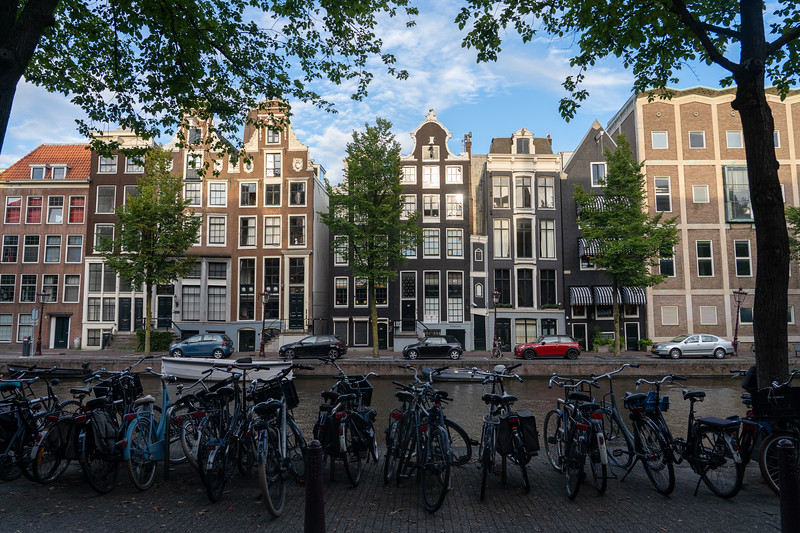 Bikes and canal houses in Amsterdam
