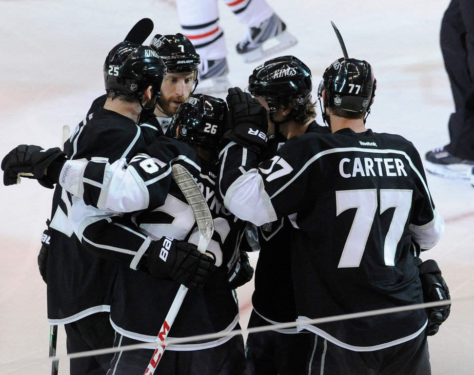 . Celebration in the 2nd period after Kings#26 Slava Voynov scored a goal. The Kings played the Chicago Blackhawks in the 3rd game of the Western Conference Finals. Los Angeles, CA 6/4/2013(John McCoy/LA Daily News4