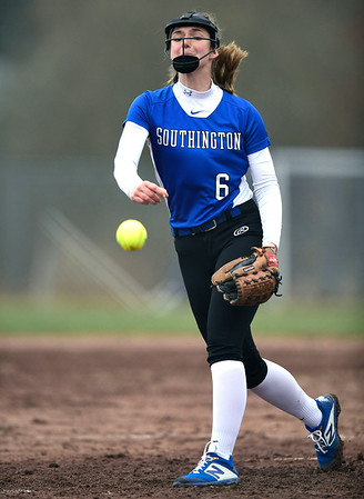 4/9/2019 Mike Orazzi | Staff Southington's Julia Theriault (6) during Tuesday's softball game in Bristol.