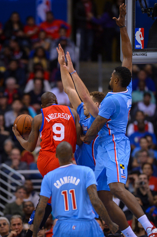 . 76ers� James Anderson comes up a agains a wall of Clippers during first half half action at Staples Center Sunday.  ( Photo by David Crane/Los Angeles Daily News )