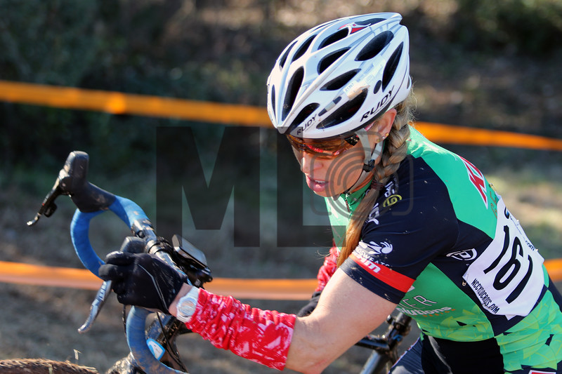 Sheila Orem (161) competes in NC Cyclo-Cross Race #9 at Renaissance Park in Charlotte, North Carolina, on Sunday, November 17, 2019
