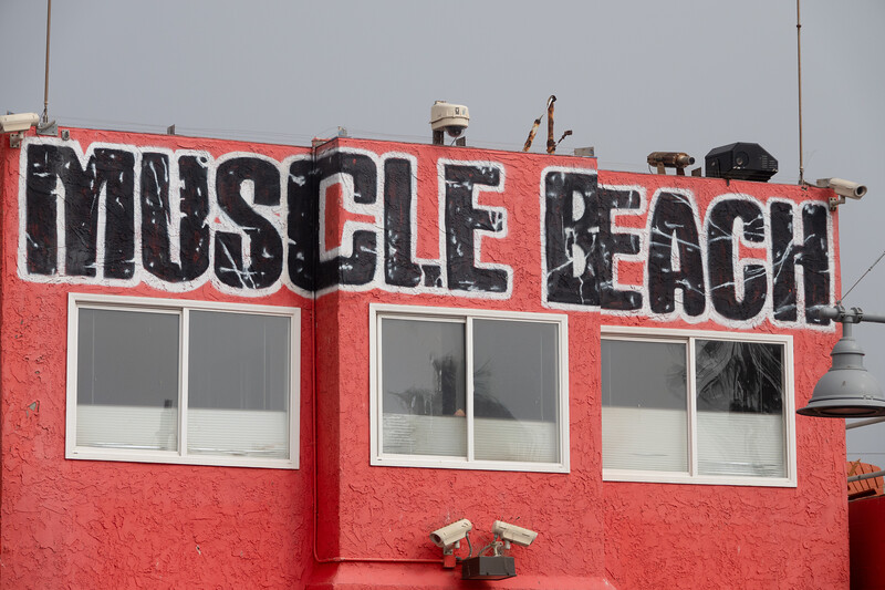 Muscle Beach in Venice Beach, where boydbuilders work out.