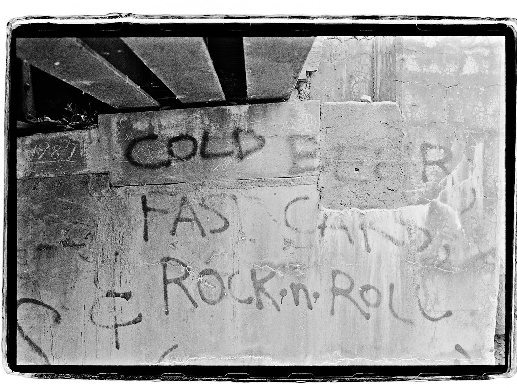 Cold beer fast cars rock and roll wall art graffiti, Yakima, Washington, 1993, HP5 Plus.