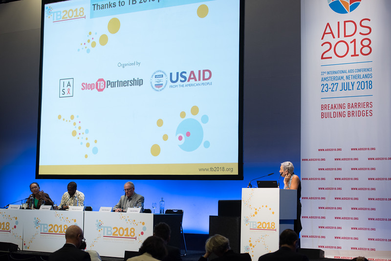 22nd International AIDS Conference (AIDS 2018) Amsterdam, Netherlands   Copyright: Marcus Rose/IAS  Photo shows: TB 2018: Bridging the TB and HIV Communities. Discussion: Bringing TB prevention to scale. L-R: Elvi Siahaan, ACT! Asia-Pacific, Indonesia. Abdulai Sesay, Civil Society Movement Against Tuberculosis Sierra Leone, Sierra Leone. Gavin Churchyard, Aurum Institute, South Africa. Linda-Gail Bekker, Desmond Tutu HIV Centre, South Africa.